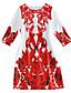 Damen Hülle Kleid-Lässig/Alltäglich Retro Druck Rundhalsausschnitt Mini ¾-Arm Rot Polyester Alle Saisons