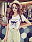 Rose Doll® Femme Col Arrondi Manche Courtes T-shirt Blanc-X15BTS052