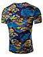 男性用 プリント カジュアル Tシャツ,半袖 コットン / スパンデックス,ブルー / レッド