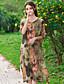 Kvinders Kineseri Casual/hverdag Løstsiddende Kjole Trykt mønster,Rund hals Knælang 1/2 ærmelængde Rød / Hvid / Grøn Rayon Sommer