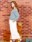 Dame Simpel I-byen-tøj Normal Hættetrøjer Ensfarvet,Blå / Hvid Bateau-hals Langærmet Polyester Forår Medium