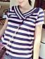 Dame Simpel I-byen-tøj / Casual/hverdag Normal Pullover Stribet,Rosa / Rød Rund hals Kortærmet Polyester Sommer Tynd