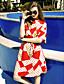 Løstsittende Dress Ut på byen Vintage Kvinner,Polkadotter Rund hals Knelang Halvlange ermer Rød Polyester Sommer