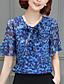 Polyester Blå Solid / Tynn Kortermet,Rund hals T-skjorte Trykt mønster Vår / Sommer Gatemote Ut på byen / Fritid/hverdag Kvinner