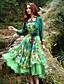 Dame Boheme I-byen-tøj Skede Kjole Blomstret,Stropløs Midi Uden ærmer Grøn Polyester Sommer Højtaljede Uelastisk Medium