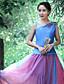 Uden ærmer Asymetrisk Medium Kvinders Blå Broderi Sommer Vintage I-byen-tøj Tank Tops,Polyester