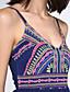 여성의 보호 A 라인 드레스 프린트 무릎 위 스트랩 스판덱스