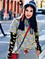Langærmet Rund hals Medium Kvinders Sort / Grå Trykt mønster / Farveblok Efterår Street I-byen-tøj / Casual/hverdag T-shirt,Bomuld