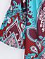 Naiset Löysä Mekko Boheemi Hiekkaranta,Painettu Venekaula-aukko Mini ¾ hiha Polyesteri Kesä Korkea vyötärö Mikrojoustava