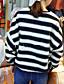 Normal Pullover Fritid/hverdag Enkel Dame,Stripet Blå / Sort Rund hals Langermet Akryl Vinter Medium Mikroelastisk