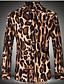 Bomull Gul Medium Langermet,Skjortekrage Skjorte Leopard Vinter Vintage Ut på byen / Fritid/hverdag Herre