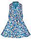 Damen Hülle Kleid-Ausgehen Lässig/Alltäglich Urlaub Retro Street Schick Anspruchsvoll Blumen Rundhalsausschnitt Knielang ¾-Arm Grün