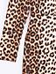 Dame Sexet I-byen-tøj Bodycon Kjole Leopard,Rund hals Mini Langærmet Brun Akryl Efterår Alm. taljede Elastisk Medium