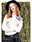 Damen Stickerei Street Schick Lässig/Alltäglich Hemd,Hemdkragen Winter Langarm Weiß Baumwolle Kunstseide Mittel