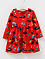 여자의 드레스 솔리드 플로럴,사계절 면 폴리에스테르 긴 소매