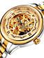 Herrn Modeuhr Mechanische Uhr Automatikaufzug Wasserdicht Legierung Leder Band Schwarz Braun Gold