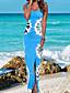 Damen Lose Kleid-Lässig/Alltäglich Einfach Druck V-Ausschnitt Maxi Ärmellos Polyester Sommer Mittlere Hüfthöhe Unelastisch Dünn