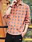 Bomull Polyester Medium Langermet,Skjortekrage Skjorte Ensfarget Stripet Rutet Høst Vinter Vintage Enkel GatemoteSport Ferie Ut på byen