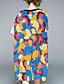 A-linje Kjole Fritid/hverdag Dame,Fargeblokk Rund hals Ovenfor knéet Halvlange ermer Silke Sommer Mellomhøyt liv Mikroelastisk Medium