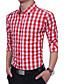 Bomull Rayon Tynn Langermet,Skjortekrage Skjorte Geometrisk Fargeblokk Rutet Alle sesonger Vintage ChinoiserieArbeid Plusstørrelser