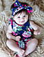 Baby Floral One-Pieces Cotton Summer Sleeveless Baby Girls Romper with Headband Toddler Girls Jumpsuits Bodysuits