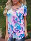 Damen Blumen Sexy Einfach Street Schick Festtage Ausgehen Lässig/Alltäglich T-shirt,Rundhalsausschnitt Sommer Herbst Kurzarm Baumwolle