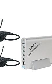 2,4 fire-kanals trådløs modtager med 2x pinhole trådløs kamera