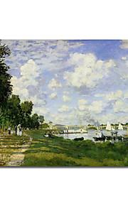 hand-painted pintura a óleo da bacia em Argenteuil por Claude Monet com moldura esticado