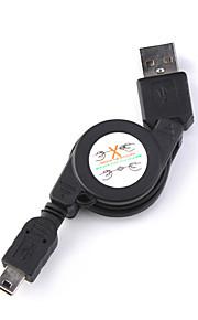 uttrekkbar USB A til mini 5-pin USB-kabel