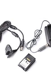 4-i-1 opladning kit med genopladeligt batteri (4800mAh) til Xbox 360 controller (sort)