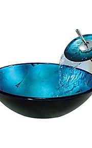 blu tondo temperato lavello del vaso di vetro con rubinetto cascata (0888-c-Bly-6.438-wf)