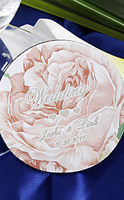 Personalized Coasters - Pink Rose (set of 4)