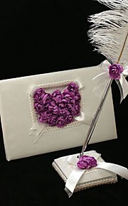 Guest Book / Pen Set Satin Garden ThemeWithFeather / Petals