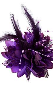 Femme / Jeune bouquetière Plume / Coton Casque-Mariage / Occasion spéciale Coiffure / Fleurs
