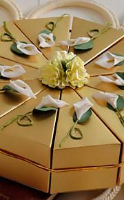 blanc lys d'or boîte de faveur gâteau (jeu de 10)