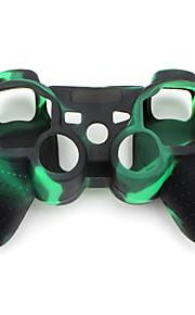 suojaava naamiointi tyyli silikonisuoja ps3 ohjain (vihreä ja musta)