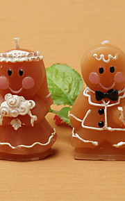 Adorable Gingerbread Bride & Groom Candle Favors(set of 8)