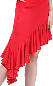 Latin Dance Skirts Women's Training Polyester Ruffles Black / Red Latin Dance Spring / Summer / Fall Natural