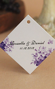 Personalized Rhombus Favor Tag - Little Purple Flowers (Set of 30)