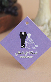Personalized Rhombus Favor Tag - Lilac Wedding Romamce (Set of 30)