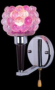 Élégant verre rose et lumières de mur en métal avec 2 feux à motif floral