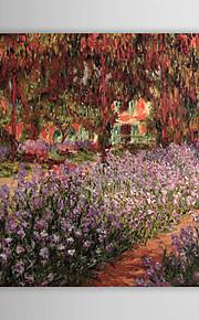 Peinture à l'huile réalisée à la main sur canevas tendu - Jardin aux Iris de Claude Monet