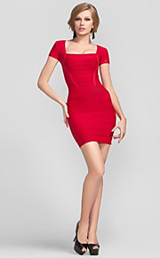 Cocktail Party Dress - Short Petite Sheath / Column Square Short / Mini Rayon with Bandage