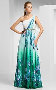 シース/コラムワンショルダー床の長さのシフォンイブニング/ウェディングドレス