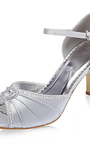 topkwaliteit satijn bovenste naaldhak peep toe met strass mode schoenen