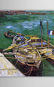 Famous Oil Painting A-quay-with-men-unloading-sand-barges by Van Gogh