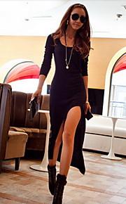 Women's Solid Bodycon High Thigh Split Maxi Dress