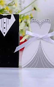 smoking of jurk voor box met wit lint (set van 12)