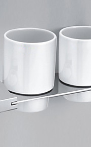 Contemporary Style Chrome Finish  Zinc Alloy Wall Mounted Toothbrush Holder (2 Cups)