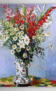 Célèbre peinture à l'huile bouquet de glaïeuls, lys et marguerites par Claude Monet